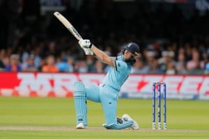 Ben Stokes hits it over mid wicket for six