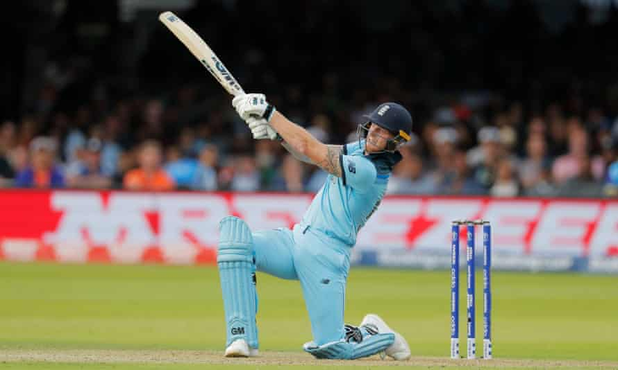 Ben Stokes hits out during the World Cup final at Lord's in July 2019