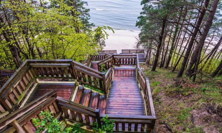 Stairs down to the beach at the Miedzyzdroje seaside resort on Wolin Island.