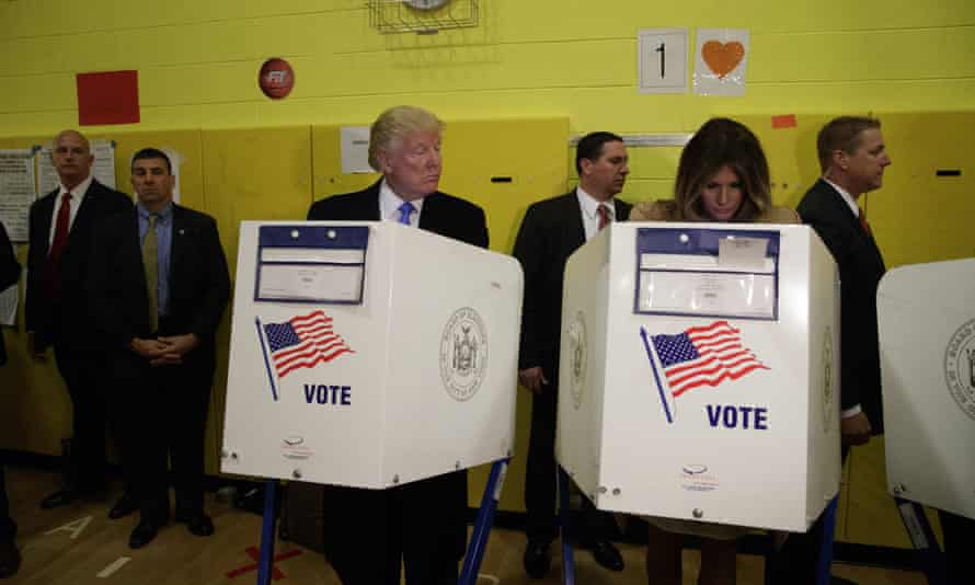 Donald and Melania Trump cast their votes on the 8 November 2016 presidential election.