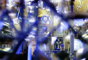 A member of the Romanian Jewish community attends a commemoration event inside the Great Synagogue in Bucharest, Romania