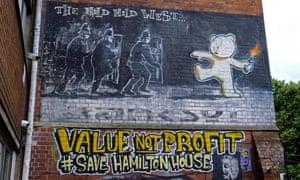Banksy's Mild Mild West graffiti in Stokes Croft.