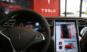 The inside of a Tesla vehicle at a showroom in Red Hook, Brooklyn.