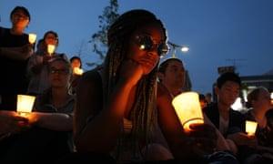 Seoul, South Korea. Mourners attend a candlelit vigil