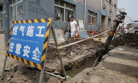 A gas pipeline construction on the outskirts of Beijing. There is a demand-supply gap for gas after coal stoves have been demolished.