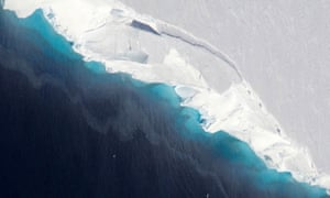 The Thwaites glacier in Antarctica, where ice is now melting on a massive scale.