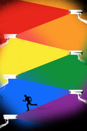 Illustration for Review cover story by Yuval Noah Harari about Stonewall at 50 and surveillance