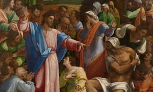 Detail from The Raising of Lazarus by Sebastiano del Piombo, incorporating designs by Michelangelo.