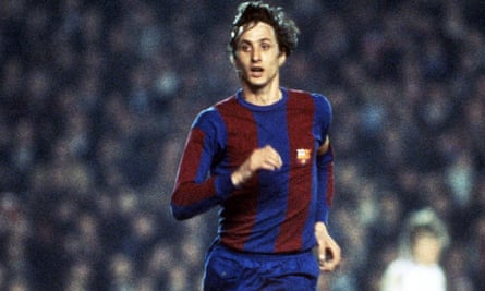 Johan Cruyff, who has died aged 68, in his Barcelona days