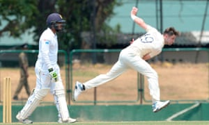 Woakes bowls during a practice match against the Sri Lanka Board President's XI in Colombo.