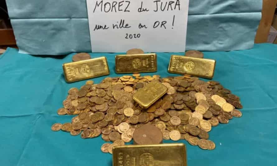 Part of the hoard of gold bars and coins discovered in Morez