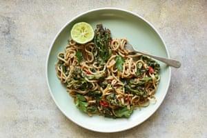 Broccoli and peanut noodles