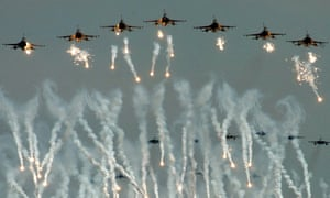 Taiwan's US-made F-16 fighter jets release flares