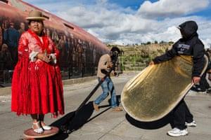 Susana Condori, 55, recording of a music video for the Elagro band, La Paz