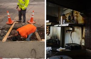 Left: Maintenance in Webster Springs, West Virginia. Right: Hometown Diner, Diana, West Virginia.