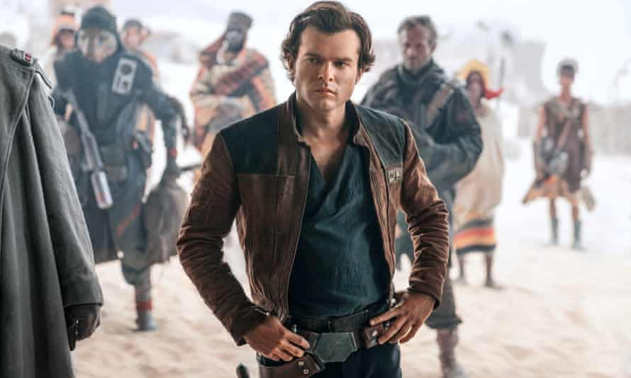 A still from Solo: A Star Wars Story, depicting Alden Ehrenreich as Hans Solo