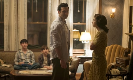 Morgan Spector, centre, and Zoe Kazan, right, excel in The Plot Against America. HBO
