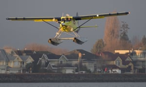 The world's first electric commercial during its maiden flight in Richmond, British Columbia