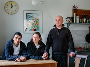 Newruz, a refugee from Syria with Claudia and Tobias
