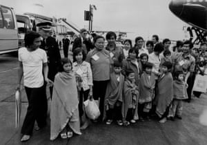 Refugees from Vietnam arrive in Britain in 1979
