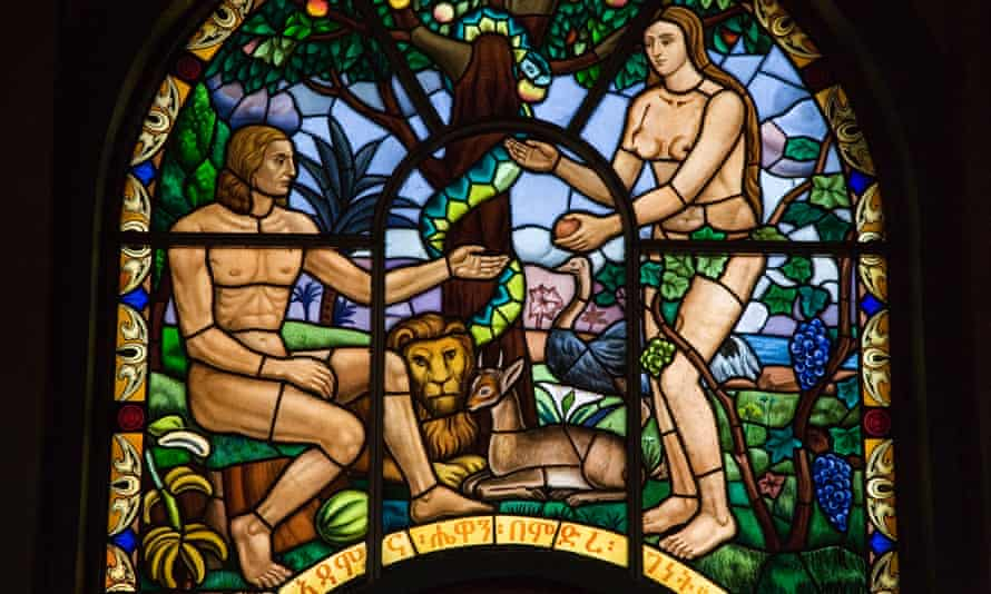 Stained glass window depicting Adam and Eve, Holy Trinity Cathedral, Addis Ababa, Ethiopia.