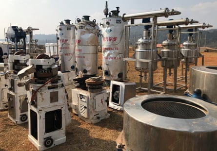 Some of the high pressure chemical reactors, and mixers used for manufacturing illicit drugs seized by Myanmar police.