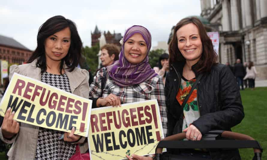 A Refugees Welcome vigil held in Belfast this month.