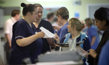 Nurses in the A&E department of Selly Oak hospital in Birmingham during a busy shift
