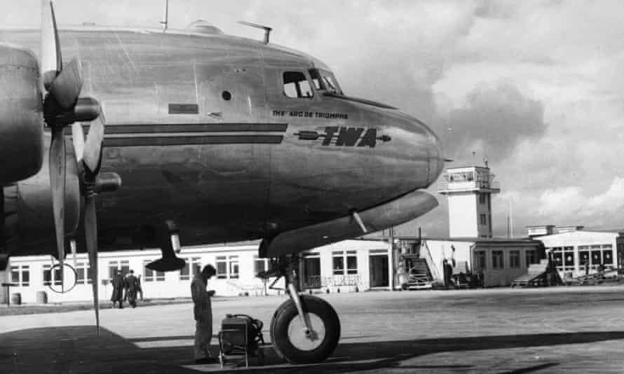 A TWA passenger plane at Shannon airport in the 1950s