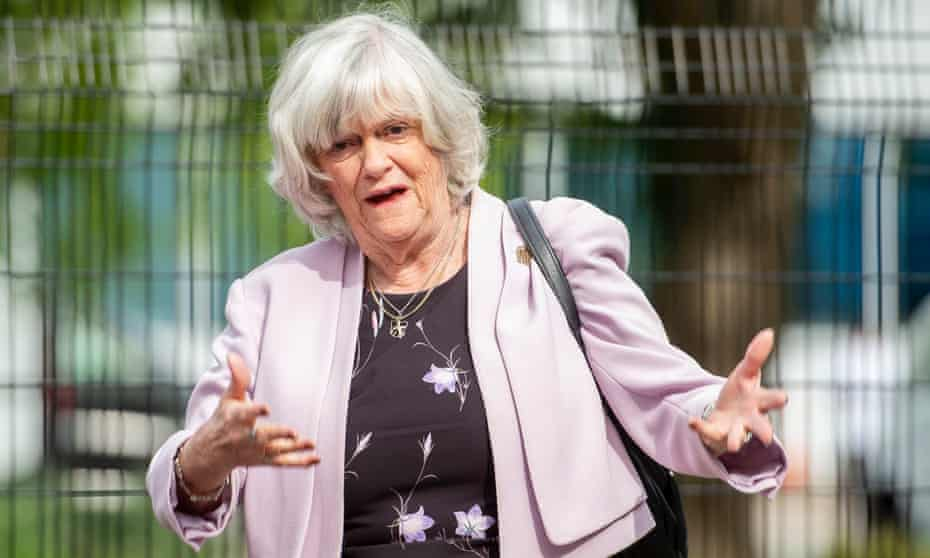 Ann Widdecombe leaves the Sky studios in west London after appearing on Sophy Ridge on Sunday.