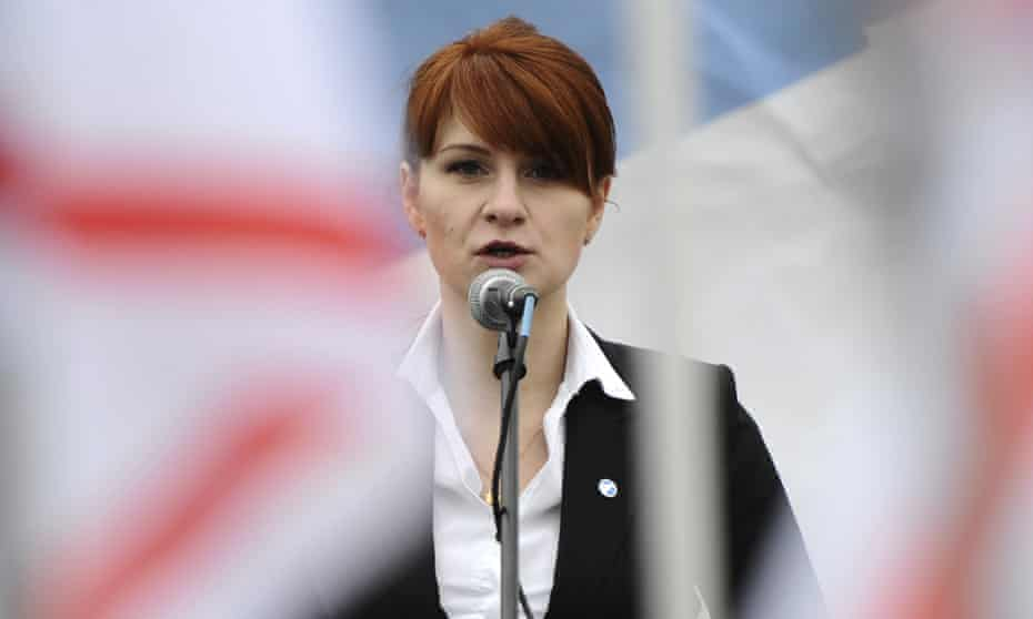 Maria Butina speaking at a pro-gun rally in Moscow.