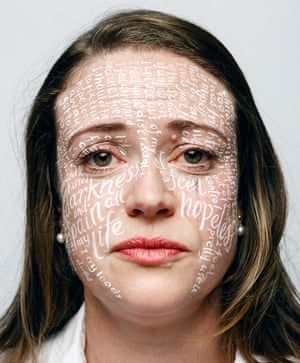 Lucy Allen with words written on her face in white