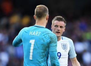 Hart speaks with Vardy after the whistle.