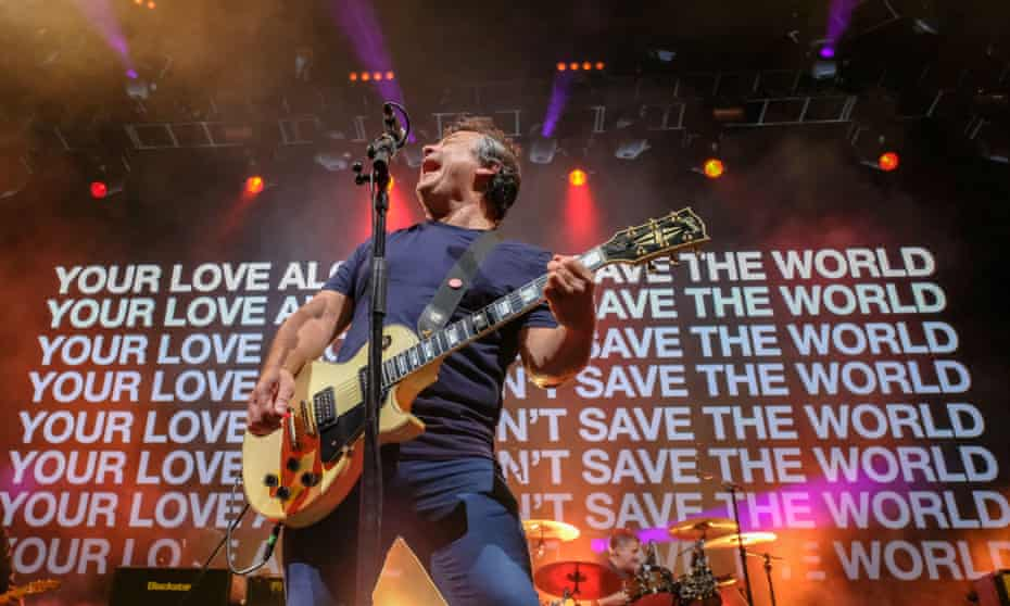 James Dean Bradfield performing with Manic Street Preachers at Cardiff's Motorpoint Arena.