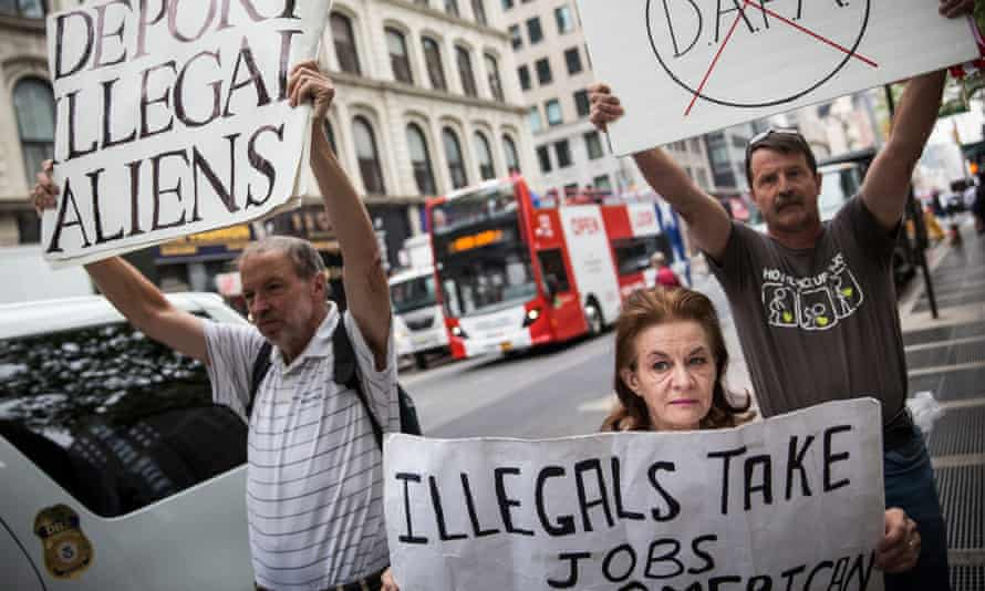 Anti-immigration protesters in New York City.