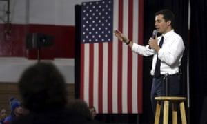 Pete Buttigieg speaks during a campaign stop in Maquoketa, Iowa, Monday.