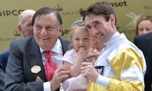 Barry Humphries presents the trophy for the Commonwealth Cup to Dougie Costello and his daughter at Royal Ascot.