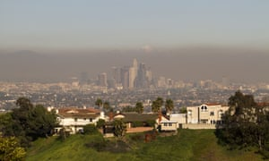 Smog is visible in downtown Los Angeles in February 2013.