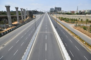 Empty roads in Bangalore, which has a population of over ten million
