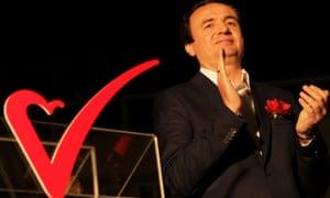 Albin Kurti, candidate for prime minister and former leader of Vetëvendosje, celebrates on Sunday.