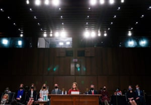 Supreme court nominee Judge Amy Coney Barrett testifies during her confirmation hearing before the Senate judiciary committee.