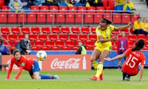 Madelen Janogy slams in Sweden's second after a lovely jinking run in the area.