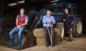 Richard Baxter (left), John Baxter (centre) and Rob Baxter on their farm in Devon.