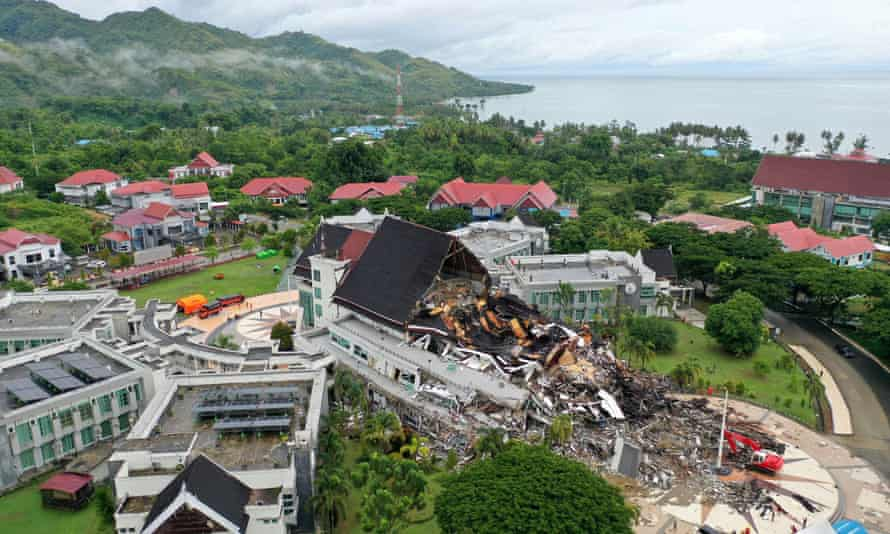The office of the governor of West Sulawesi province in Mamuju extensively damaged by earthquake