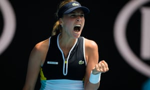 Anett Kontaveit has reached a grand-slam quarter-final for the first time.