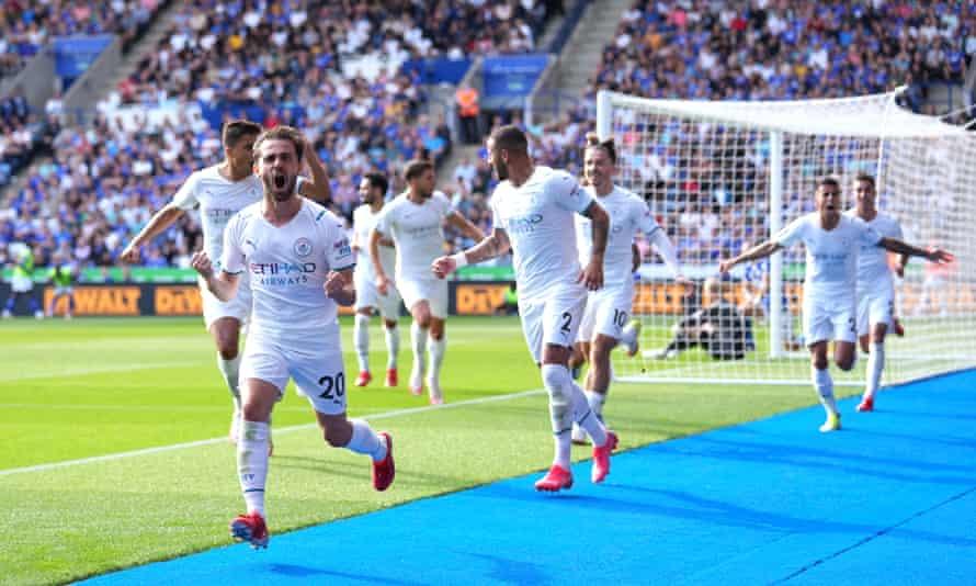 Bernardo Silva celebrates scoring the opening goal against Leicester.