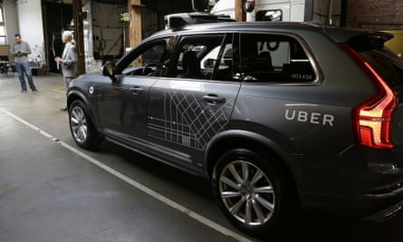An Uber self-driving car in San Francisco. Uber has pulled its fleet from the city's roads just one week into the trial.