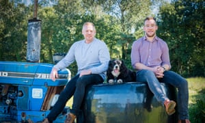 Field & Flower Best Independent Retailer OFM Awards 2019 James Mansfield (sweatshirt) and James Flower (checked shirt) Home farm, Walton-in-Gordano, Clevedon, BS21 7AJ Observer Food Monthly