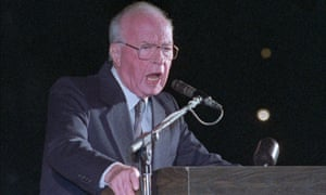 Israeli prime minister Yitzhak Rabin speaks to a crowd of more than 100,000 Israelis at Tel Aviv's municipal square before he was assassinated
