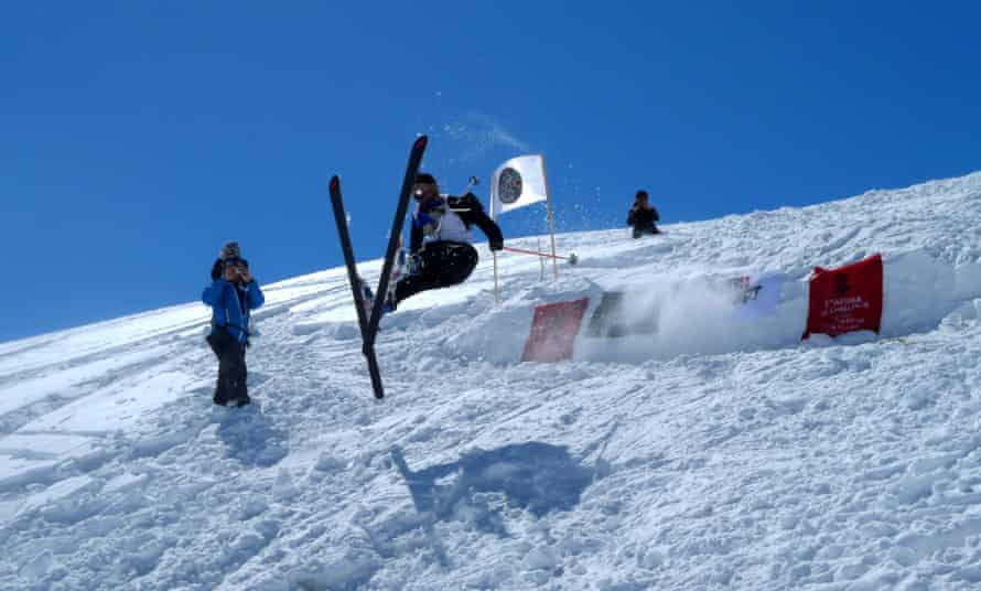 A competitor at the 2014 Afghan Ski Challenge, trying out a jump